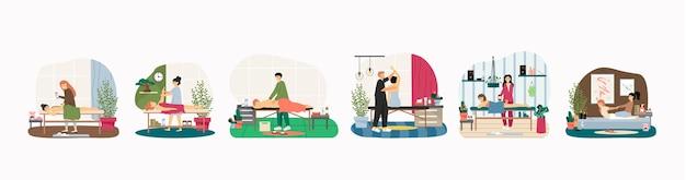 Massagem terapêutica e tratamentos relaxantes de spa corporal, plano. pessoas recebendo massagem nos braços, costas, pernas, pedras quentes, osteopatia, fisioterapia.
