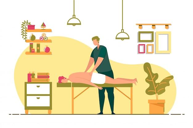 Massagem terapêutica nas costas em spa
