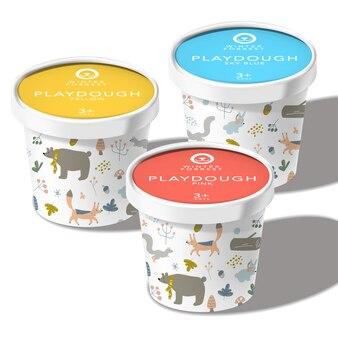 Massinha, sorvete, lanche ou brinquedos, copo de papel reciclável ou pacote de jarra, tema de animais da floresta de inverno impresso