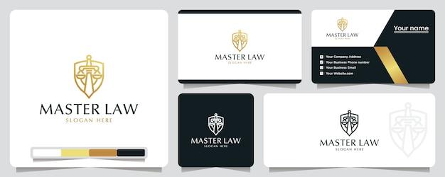 Master law, shield, safety, logo design inspiração