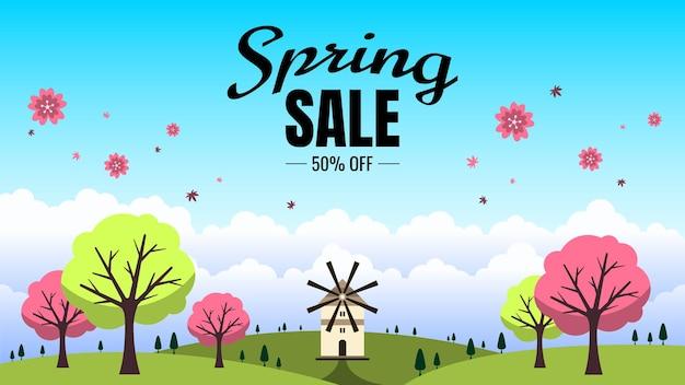 Masthead de venda de primavera com ilustração de fundo de paisagem de primavera