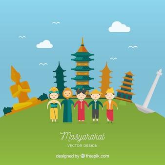 Masyarakat indonésia em estilo de desenho animado