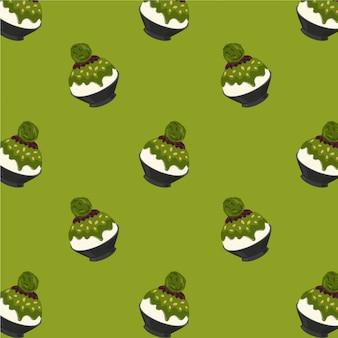 Matcha chá verde bingsu cartoon padrão sobre fundo verde