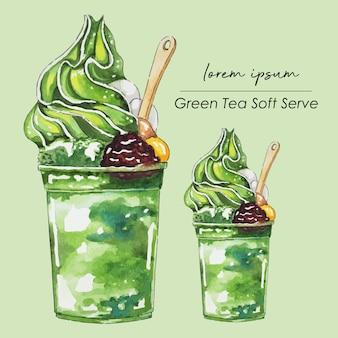 Matcha chá verde suave servir sorvete pintura em aquarela