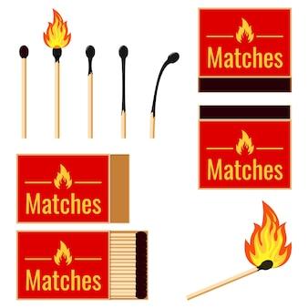 Matches flat design set ilustrações vetoriais queimando palito de fósforo no fogo, palito de fósforo queimado isolado no fundo branco.