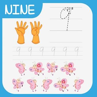 Matemática escrita prática número nove