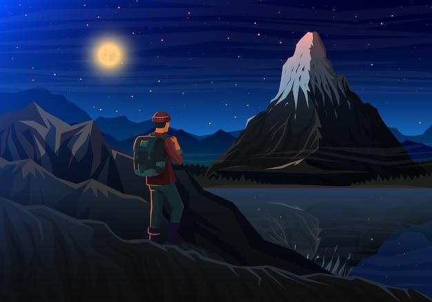 Matéria da montanha com turista, vista panorâmica da noite dos picos com cachoeira, paisagem cedo em uma luz do dia.
