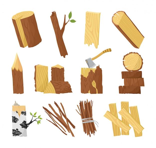 Matéria-prima da indústria de madeira e amostras de produção plana definida com tronco de árvore registra pranchas ilustração vetorial de porta