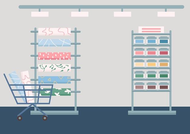 Materiais de construção civil armazenam cores planas. artigos de renovação doméstica. interior 2d cartoon da loja industrial com rolos de papel de parede e suporte de tinta no fundo