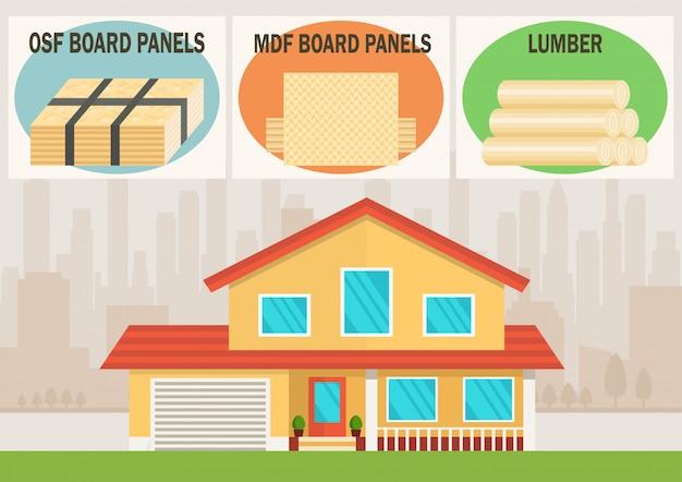 Materiais de construção para vetor de construção de casa