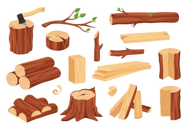 Materiais de madeira serrada toras troncos tocos lenha tábuas ramos vetor definido