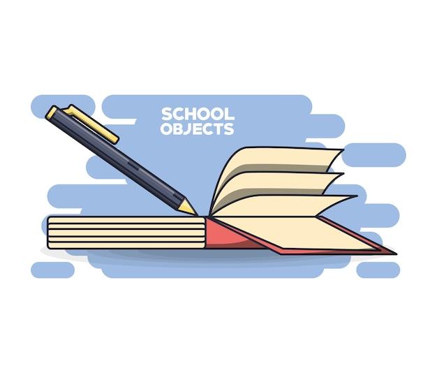 Materiais escolares conceito de educação de livros
