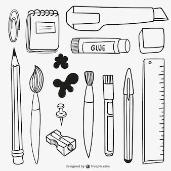 Materiais escolares desenhados mão