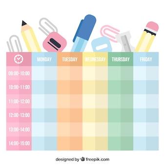 Materiais escolares planos e horários coloridos