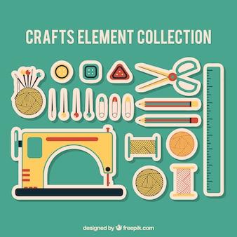 Materiais etiqueta de costura definir