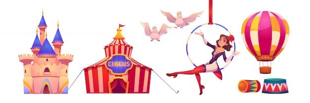 Material de circo e artista tenda grande, ginasta de ar