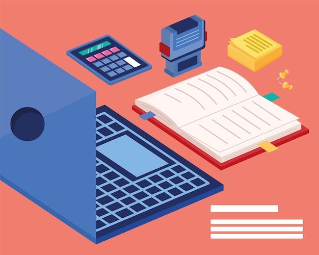 Material de escritório e laptop