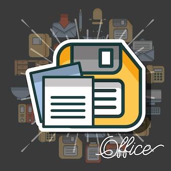 Material de escritório e pessoas