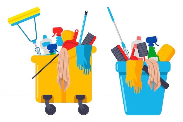 Material de limpeza e equipamentos em balde