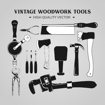 Material de madeira e ferramentas vector preto e branco vintage