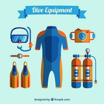 Material de mergulho e design plano