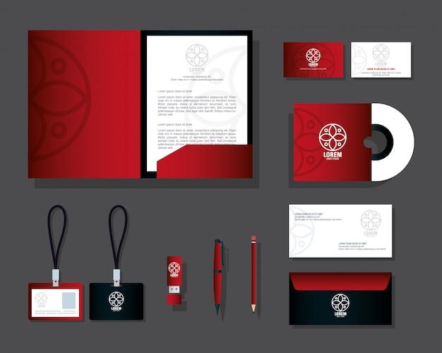 Material de papelaria de maquete, cor vermelha com sinal branco, maquete de identidade corporativa da marca