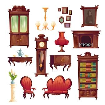 Material de sala de estar vitoriana, mobiliário clássico antigo