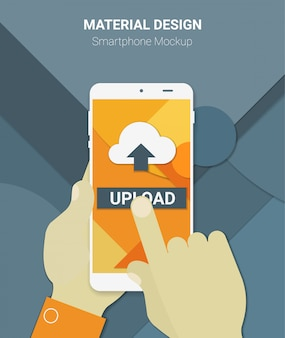 Material design mãos segurando um dispositivo móvel com app de upload, em um fundo de material moderno
