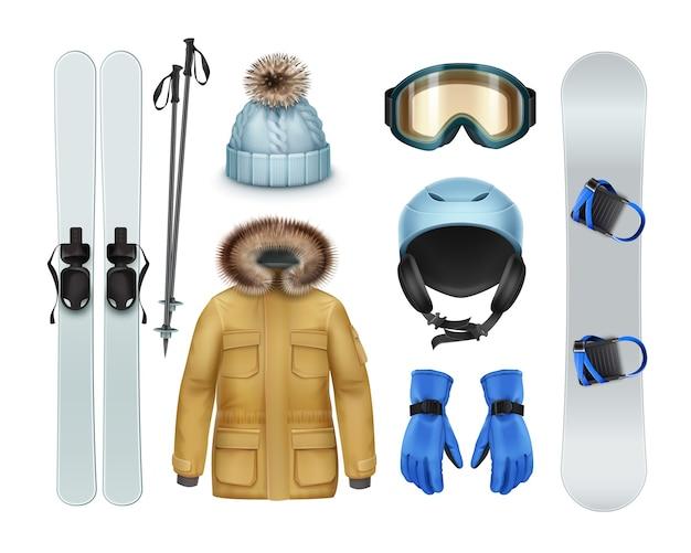 Material e vestuário para esportes de inverno: casaco marrom com capuz de pele, calças, luvas, boné de malha, óculos de proteção, capacete, esqui, bastões, vista frontal do snowboard isolada no fundo branco