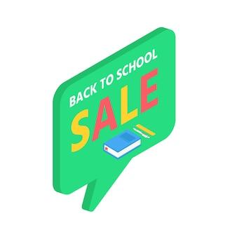 Material escolar 3d isométrico com livro, caneta e régua. vetor de volta ao fundo de venda de escola com artigos de papelaria. acessórios de escritório.