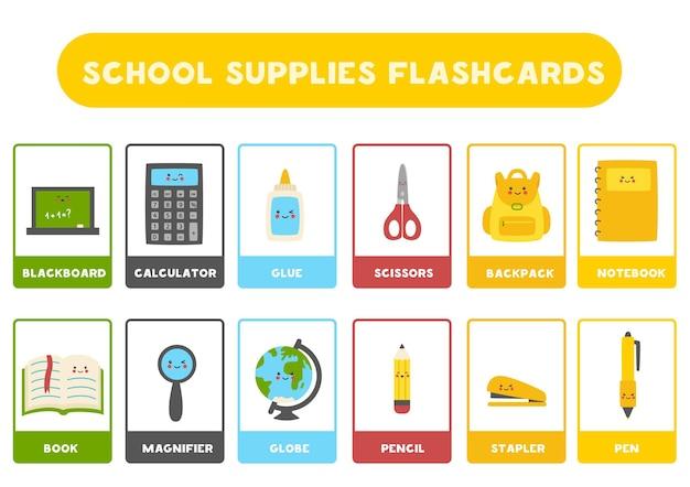 Material escolar bonito com nomes. cartões flash para crianças.