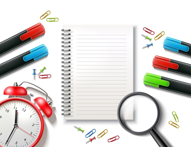Material escolar com caderno em branco e clipe de papel de pino de despertador vetor de volta às aulas