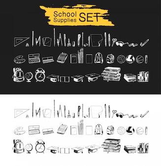 Material escolar conjunto mão desenhada coleção preto e branca