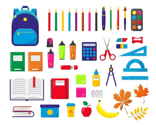 Material escolar e mochila definem ilustração em fundo branco.