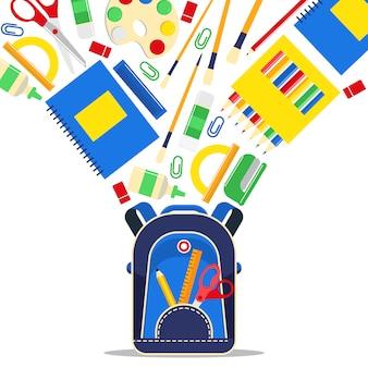 Material escolar educação escolar acessório para crianças em idade escolar pano de fundo papelaria educacional para estudar em sala de aula ilustração fundo