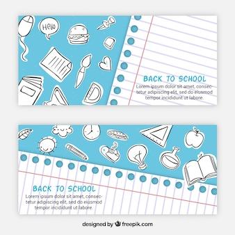Material escolar esboça banners