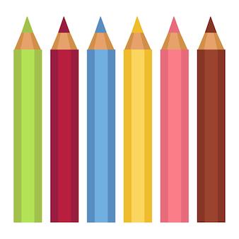 Material escolar, lápis coloridos para desenho. instrumento de criação artística. atividade artística para crianças ou adultos. papelaria para escrever, objeto com grafite, vetor de instrumentos de aula