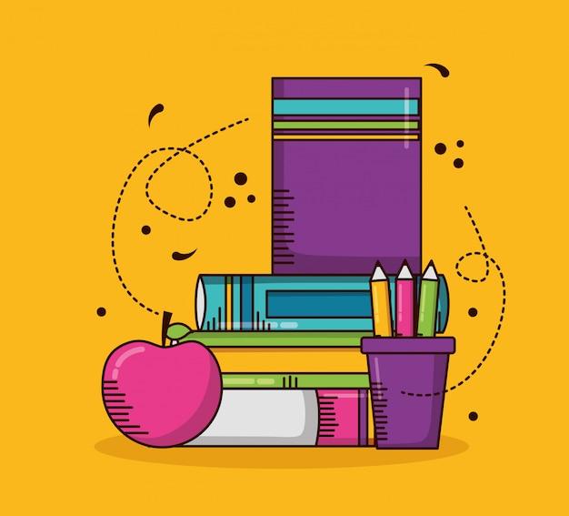 Material escolar, livros, lápis, maçã