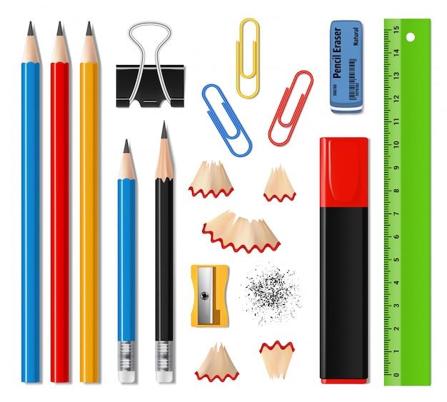 Material escolar realista e artigos de papelaria de escritório