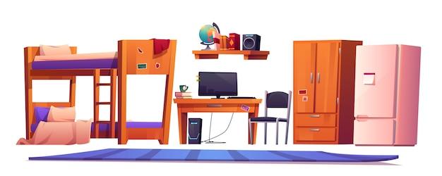 Material interior de quarto de dormitório de albergue ou estudante