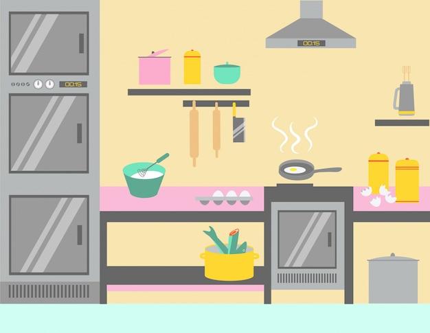 Material técnico da cozinha home moderna, ilustração nova do conceito da sala da culinária. bolo de preparação, coifa de frigideira e forno.