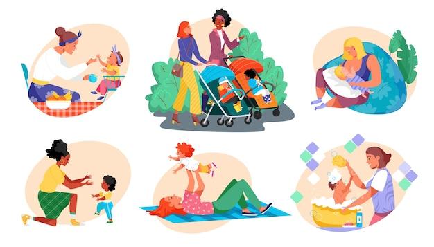 Maternidade, cuidados com o bebê, mulheres, crianças, conjunto de personagens mães e crianças