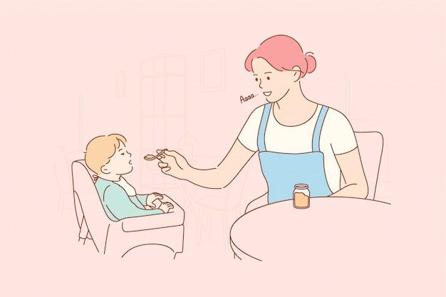 Maternidade, infância, comida, conceito de família