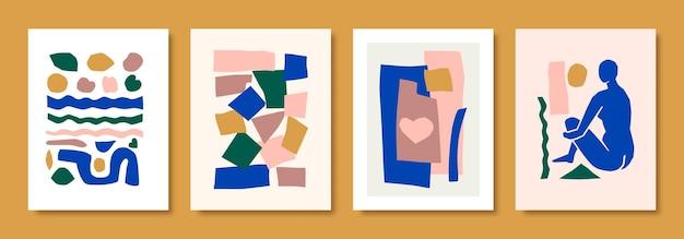 Matisse abstract art define a figura feminina e as formas orgânicas em estilo de corte de papel. colagem de vetor de corpo feminino e elementos geométricos. ideal para pôsteres, cartões postais, estampas em camisetas