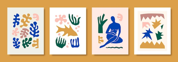 Matisse abstract art define a figura feminina e as formas orgânicas em um estilo moderno e minimalista. colagem de vetor de corpo feminino, pássaros e peixes e elementos botânicos feitos de papel cortado