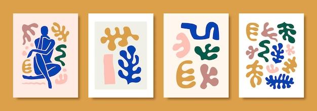 Matisse abstract art define a figura feminina e as formas orgânicas em um estilo moderno e minimalista. colagem vetorial de corpo feminino