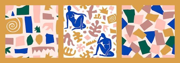 Matisse inspirou arte abstrata sem costura padrão definido com figura feminina e formas orgânicas em um estilo moderno e minimalista. fundo de colagem de vetor de corpo feminino, formas geométricas feitas de papel cortado
