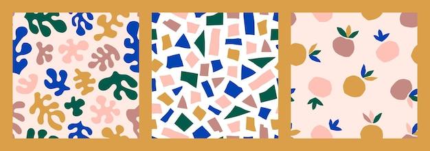 Matisse inspirou arte abstrata sem costura padrão definido com formas orgânicas, pêssego em um estilo moderno e minimalista. colagem de vetores