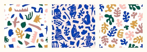 Matisse inspirou o conjunto padrão abstrato sem emenda com formas orgânicas recortadas em um estilo moderno e minimalista. colagem de vetores