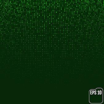 Matriz de brilho de néon verde do código binário. efeito de volume.